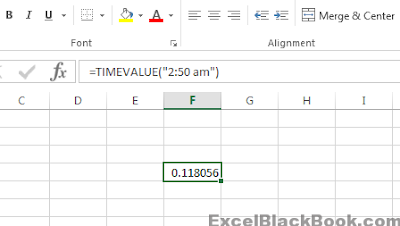 TIMEVALUE-Function-in-Excel-ExcelBlackBook.com